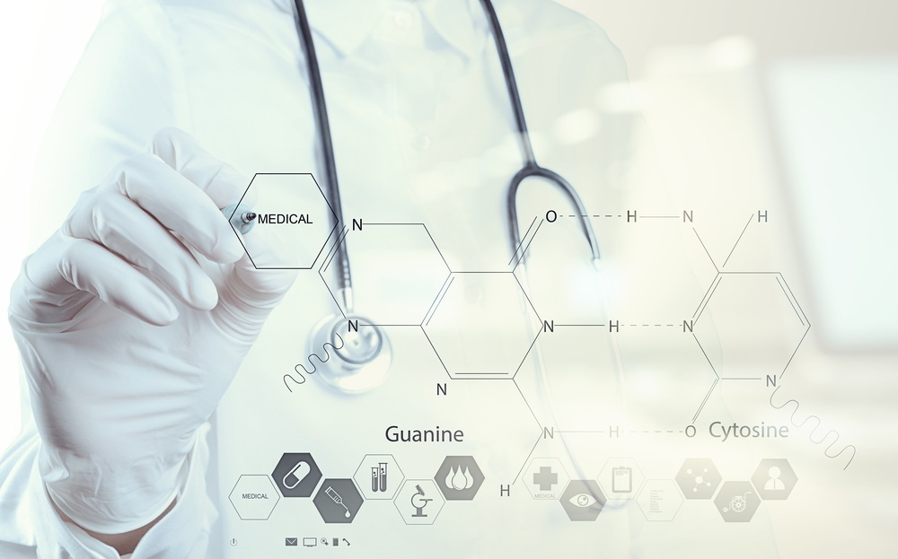 Double exposure of chemist doctor hand drawing chemical formulas on virtual board