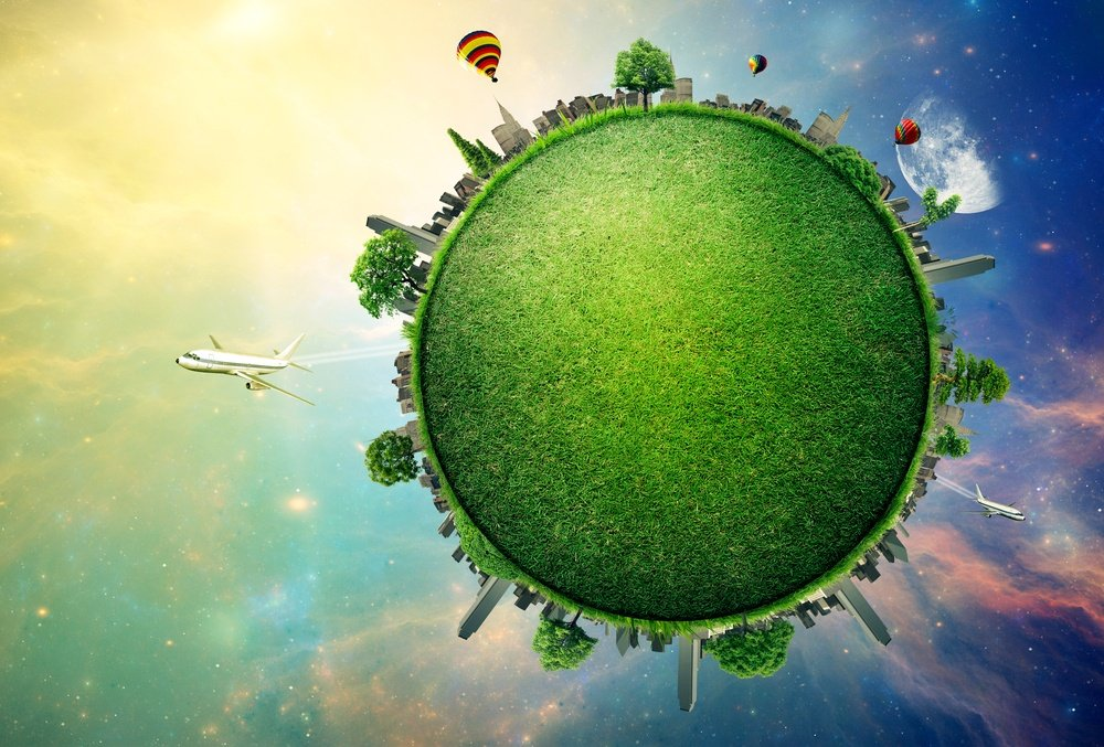 Green planet earth covered with grass city skyline. Sustainable source of electricity, power supply concept. Eco environmentally friendly technology approach. Elements of this image furnished by NASA