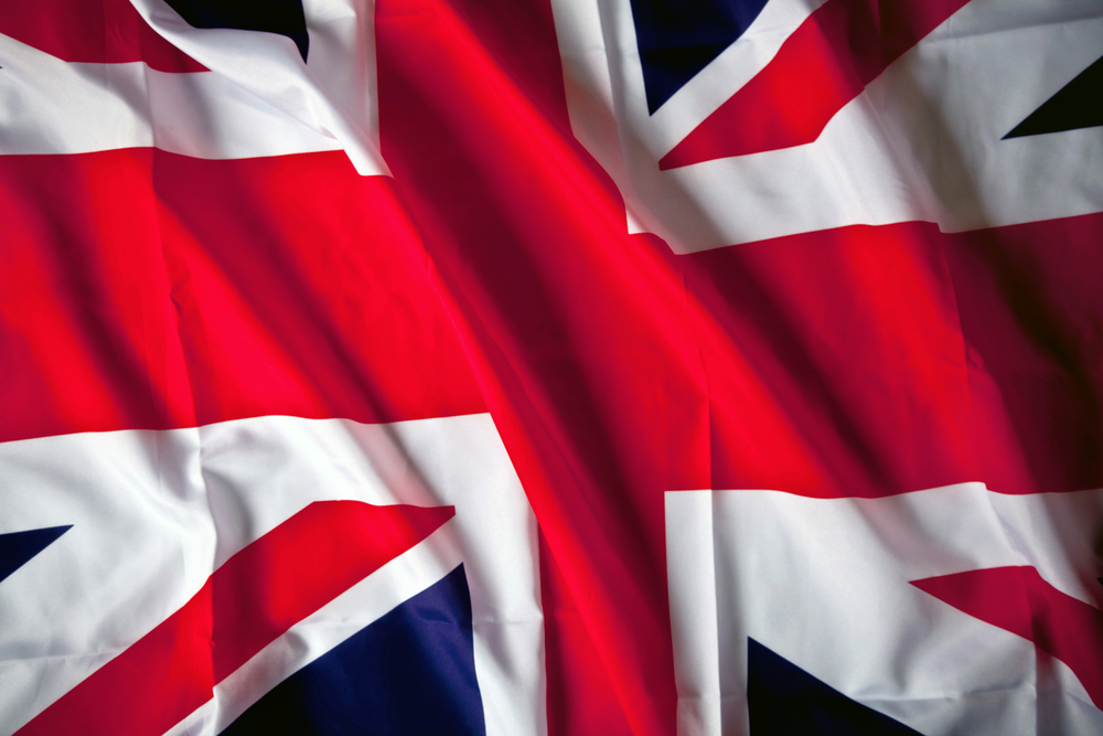 Picture of the United Kingdom flag with wavy texture